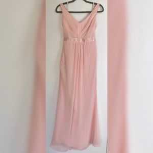 Pink David's Bridal chiffon bridesmaid dress - 4